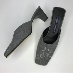 HILLARD & HANSON Gray Mules Slip Ons Embroidered 9